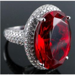 .925 Silver Ruby Red Swarovski Element Ring - Size 6.