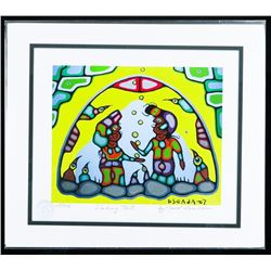 """Norval Morrisseau (1931-2007) Canada's Picasso of the North Giclee. """"Shaking Tent"""". Limited Edition"""