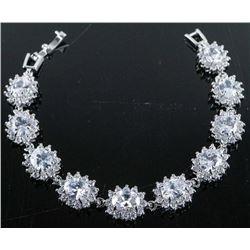 .925 Silver Cluster Swarovski Element Bracelet.