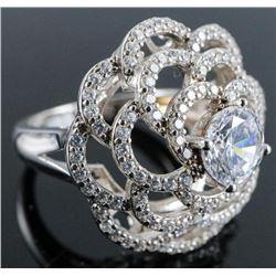 .925 Silver Floral Swarovski Element Ring - Size 7.