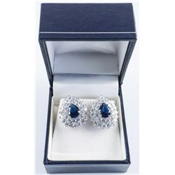 .925 Silver Cluster Blue Sapphire and White Swarovski Element Earrings.