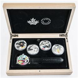 Scarce - Royal Canadian Mint SOLD OUT .9999 Fine Silver Looney Tunes Coin Set with Collector Watch.