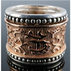.925 Silver and Rose Gold Plate Design Ring.