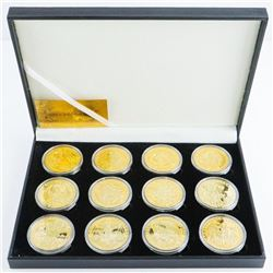 12pc Zodiac 24kt Gold Plated Medallion Set with Certificate. Limited Edition.