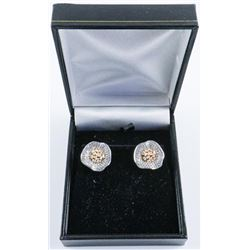 Ladies .925 Silver Earrings with 24kt Gold Overlay.