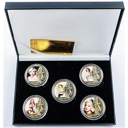 5pc Marilyn Monroe 24kt Gold Plated Medallion Set with Certificate. Limited Edition.