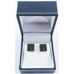 .925 Silver Square Swarovski Element Earrings.