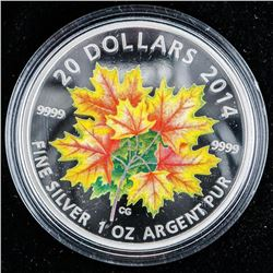 """.9999 Fine Silver $20 """"Maple Leaves"""" Coin. SOLD OUT at the Royal Canadian Mint. Limited Edition with"""