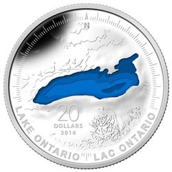 """.9999 Fine Silver $20 """"Lake Ontario"""" Coin. SOLD OUT at the Royal Canadian Mint. Limited Edition with"""