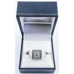 Gents .925 Silver and Swarovski Element Designer Ring. Size 11.
