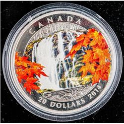 """.9999 Fine Silver $20 """"Autumn Falls"""" Coin. SOLD OUT at the Royal Canadian Mint. Limited Edition with"""