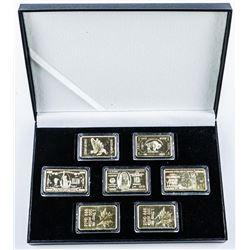 7pc 24k Gold Plated Bar Set. Mixed Collector Bars.
