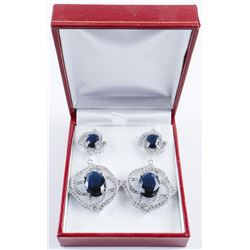 .925 Silver Drop Earrings with Sapphire Blue and White Swarovski Elements.