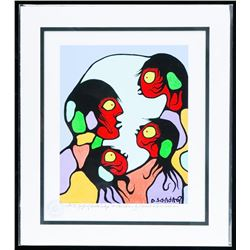 """Norval Morrisseau (1931-2007) Canada's Picasso of the North Giclee. """"Gift of Knowledge to Children""""."""