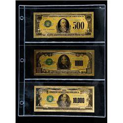 Lot (3) 24kt Gold Leaf Federal Reserve Notes. (500, 1,000, 10,000).
