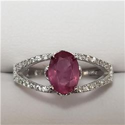 Silver Ruby Cubic Zirconia Ring (~Size 6)(Ring is resizable for $40) (~weight 4.6g), Suggested Retai