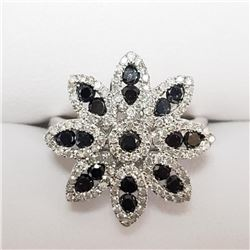 14K White Gold 17 Black Diamond Diamonds(1.5ct) Ring (~Size 6.5)(Ring is resizable for $40) (~weight