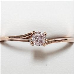 14K Rose Gold Light Pink Diamond(0.18ct) Ring (~Size 6.5)(Ring is resizable for $40) (~weight 1.2g),