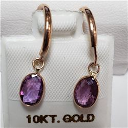 10K Rose Gold Pink Sapphire(1.5ct) W/ 14Kt Bezel Earrings (~weight 0.87g), Insurance Value $1640 (Es