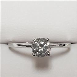 14K White Gold Diamond(G-H, I, 0.55ct) Ring (~Size 7)(Ring is resizable for $40) (~weight 1.3g), Ins