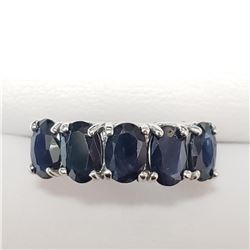 10K White Gold Sapphire(3.3ct) Ring (~Size 6)(Ring is resizable for $40) (~weight 2.1g), Insurance V