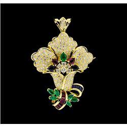 3.37 ctw Ruby, Emerald, Sapphire and Diamond Pendant-Pin - 18KT Yellow Gold