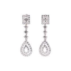 3.70 ctw Diamond Earrings - 14KT White Gold