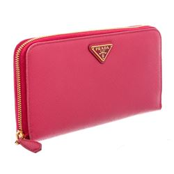 Prada Pink Saffiano Leather Continental Zip Wallet