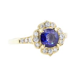 1.50 ctw Sapphire and Diamond Ring - 14KT Yellow Gold