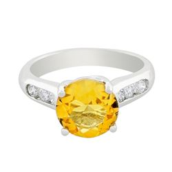 14KT White Gold 2.50 ctw Citrine and Diamond Ring
