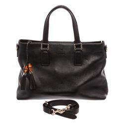 Gucci Black Pebbled Leather Bamboo Tassel Tote Shoulder Bag