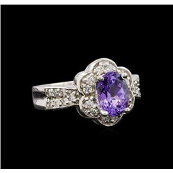 14KT White Gold 1.49 ctw Tanzanite and Diamond Ring