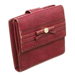 Gucci Dark Red Guccissima Leather French Flap Wallet