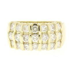14kt Yellow Gold 1.48 ctw Bar Set Round Diamond Wide Band Ring
