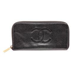 Chanel Black Caviar Leather Timeless Zippy Wallet