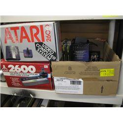 BOX WITH ASSORTED ATARI GAMES, ATARI 2600, ASSORTED CONTROLLER ETC.