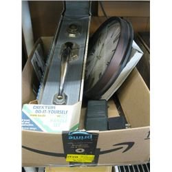 BOX OF MISC NEW DOOR HARDWARE SET, CLOCK, HANDHELD RADIO ETC.