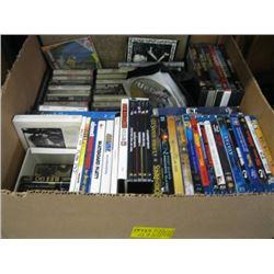 BOX OF MISC DVDS, CDS, CASSETTES ETC.