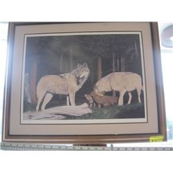 """FRAMED NUMBERED PRINT OF """"THE WOLVES"""" BY JOHN STONE 1988"""