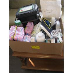 3 BOXES OF MISC BATHROOM ACCESSORIES, RAZORS, TOOTHPASTE ETC.