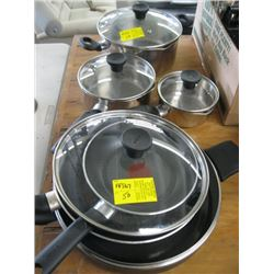 A LOT OF T-FAL STAINLESS POTS & PANS