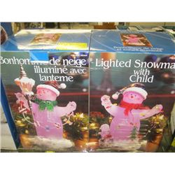 2 LIGHTED SNOWMAN FIGURINES