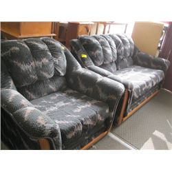 3 PC BLACK & MULTI COLORED SOFA, CHAIR & LOVESEAT SET