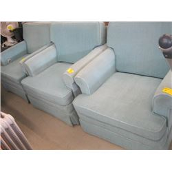 3 BLUISH/GREEN UPHOLSTERED CHAIRS