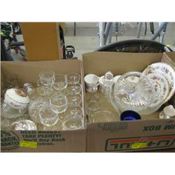 3 BOXES OF MISC GLASSWARE, CHINA, COLLECTOR PLATES ETC.