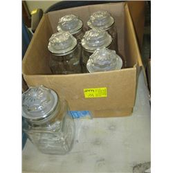 6 GLASS CANISTERS