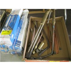 A LOT OF TORCH PIECES, 5 PART BOXES OF WELDING ROD 70