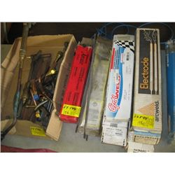 A LOT OF ASSORTED WELDING ROD, BOX OF ASSORTED TORCH PIECES