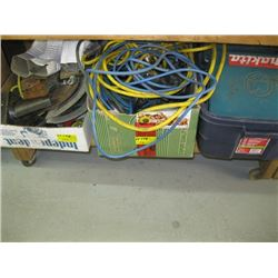 A LOT OF MISC EXTENSION CORDS, TAPE MEASURES ETC.