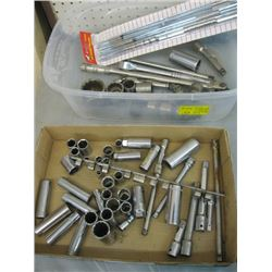 2 BOXES OF ASSORTED SOCKETS, EXTENSIONS, RATCHETS ETC.